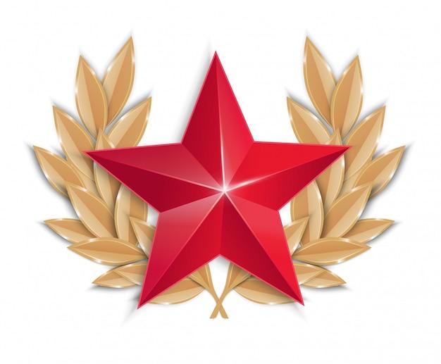 月桂樹の花輪を持つ赤い星。アイコン。