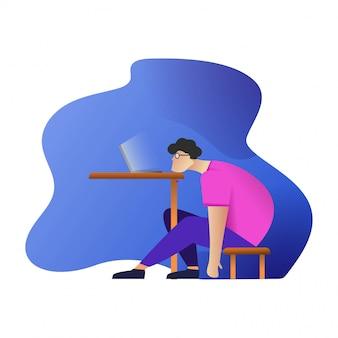 Ленивый человек работает дизайн персонажей плоский вектор