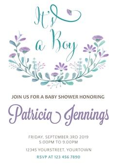 水彩の花と美しい赤ちゃんの少年シャワーカードのテンプレート