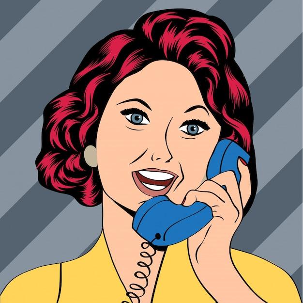 電話でチャットしているポップアートの女性