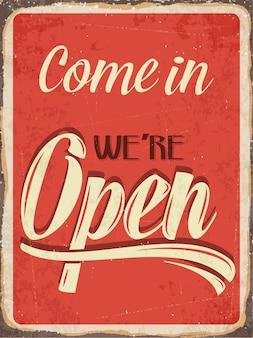 Ретро-металлический знак «заходите, мы открыты»