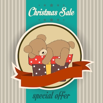 テディベアとクリスマスセールのデザイン