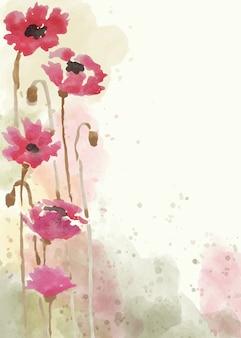 手描きの花の背景を水彩スタイルで