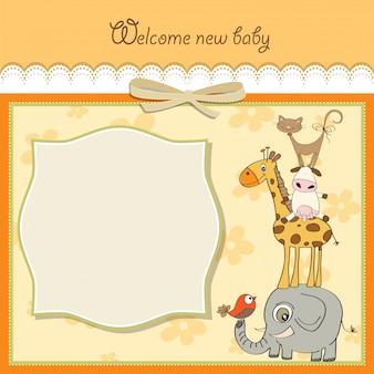 Карточка с детским душем с пирамидой животных