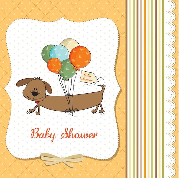 長い犬と風船を持つベビーシャワーカード