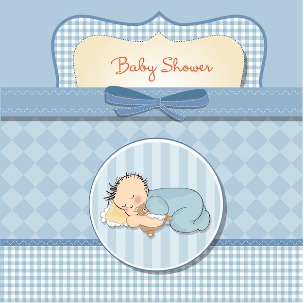彼のテディベアのおもちゃと小さな赤ちゃんの睡眠のベビーシャワーカード
