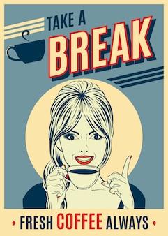 ポップアート女性とコーヒーのレトロポスターを宣伝する。