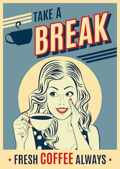 Рекламный кофе ретро-постер с поп-арт женщиной.