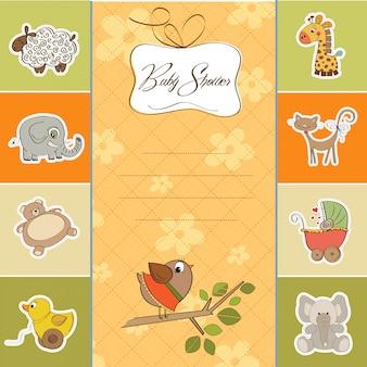 Добро пожаловать детская открытка с забавной маленькой птицей