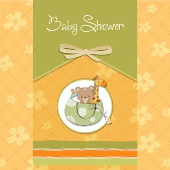 バッグと同じおもちゃを持つ新しい赤ちゃん発表カード