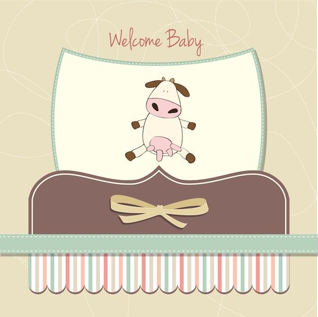 牛の新しい赤ちゃんの女の子発表カード