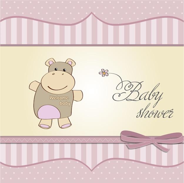 ヒッコのおもちゃと子供の赤ちゃんの少女のアナウンスカード