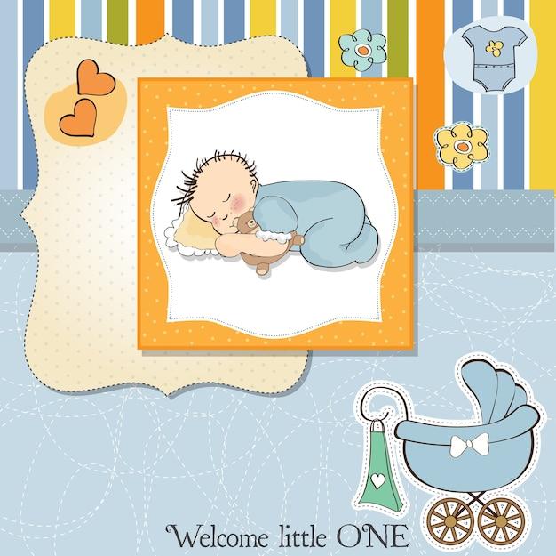 小さな赤ちゃんの睡眠とベビーシャワーカード