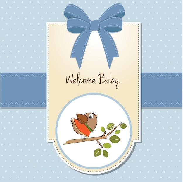 面白い小さな鳥と歓迎の赤ちゃんカード