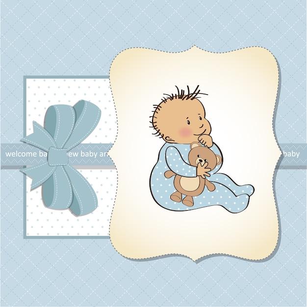 小さな男の子との赤ちゃん発表カード