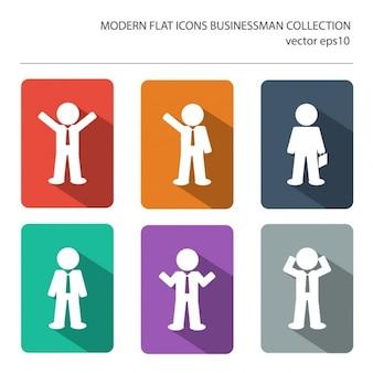 ビジネスマンのアイテムのスタイリッシュな色の長い影の効果を持つ近代的なフラットアイコンのベクトルコレクション