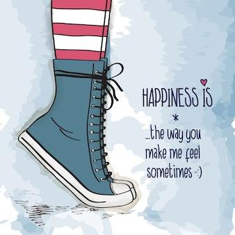 スニーカーで靴を持つ少女、つま先立ち、愛カードに立っていた