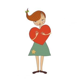 Молодая девушка с большим сердцем