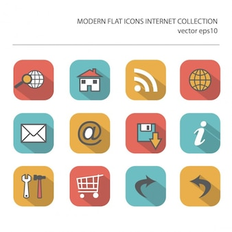 インターネットアイテムのスタイリッシュな色の長い影の効果を持つ近代的なフラットアイコンのベクトルコレクション