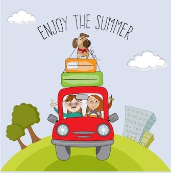 赤い車で旅行彼らの犬との幸せなカップル