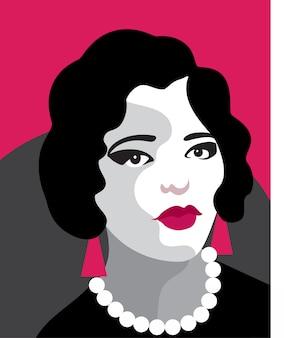 Мода женщина портрет арт-деко. плоский дизайн.