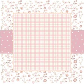 Розовый романтический шаблон фон с цветочками