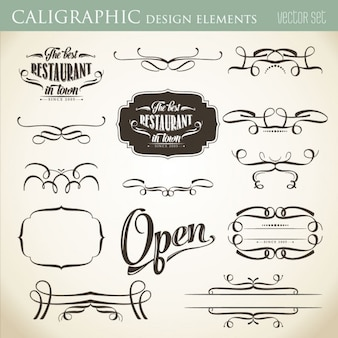 あなたのレイアウトのベクトル形式を飾るための書道のデザイン要素