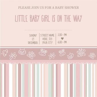 女の赤ちゃんのシャワーカードベクトル図