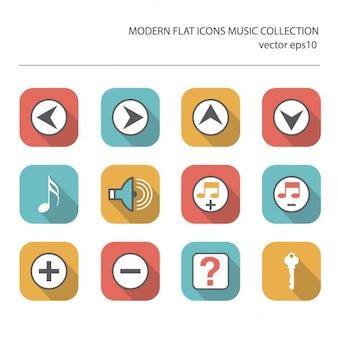 Современные плоские иконки вектор коллекции с длинным эффектом тени в стильных цветах музыкальных элементов, изолированных на белом фоне