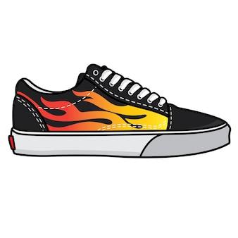 Векторные кроссовки огонь