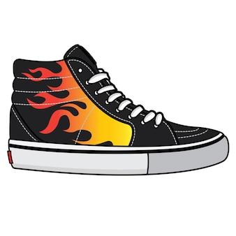 Векторные кроссовки в середине огня