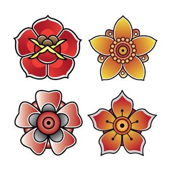 Набор цветочной татуировки старой школы