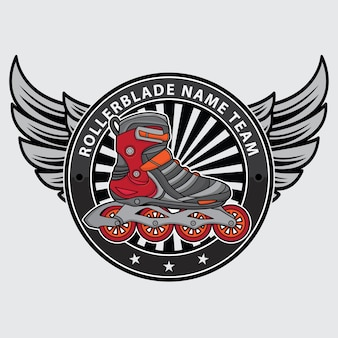 ローラーブレードチームのロゴのテンプレートデザイン