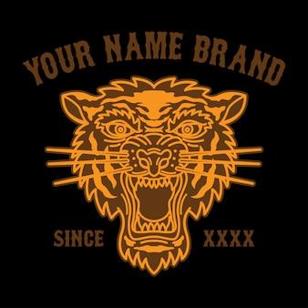 Татуировка головы тигра логотип для одежды