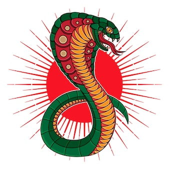 伝統的なヘビコブラフラッシュタトゥー