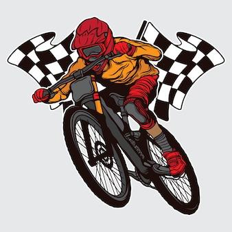 Чемпион по скоростному спуску на горных велосипедах