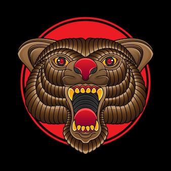 伝統的なクマの頭のタトゥー