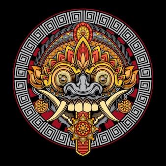 Рангда маска иллюстрация
