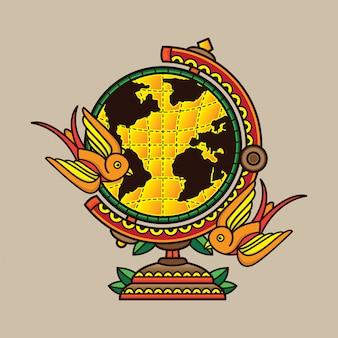 Дизайн традиционной татуировки глобус
