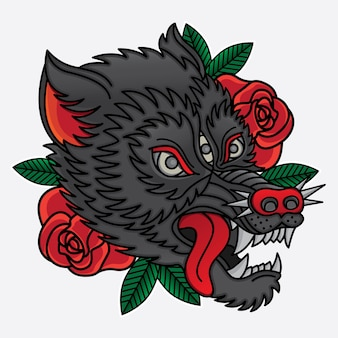 オオカミの伝統的な入れ墨