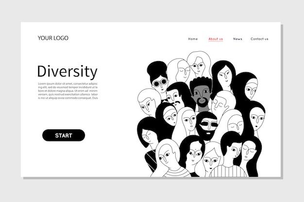 Люди, представляющие личность, командное разнообразие в компании. веб-шаблон целевой страницы
