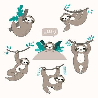 Векторный набор милые ленивцы в разных позициях.