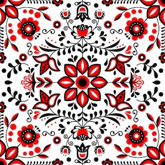 スカンジナビアの民俗芸術のシームレスなパターン。