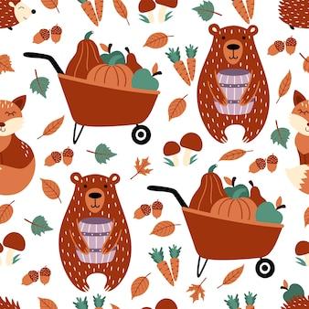 Осенний бесшовный узор с медведем