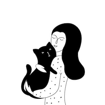 若い女の子と彼女の猫