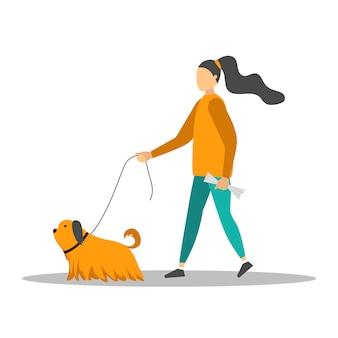 Молодая женщина гуляет с пятью собаками.