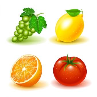 Набор фруктов и овощей: виноград, лимон, апельсин и помидор. изолированный