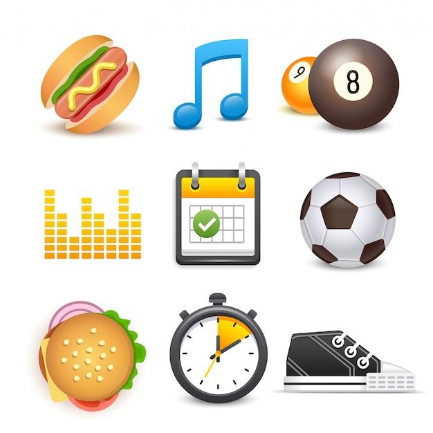 ダイエットやフィットネスのスポーツ要素のセット