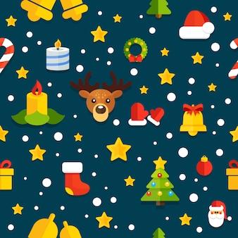 Бесшовный фон с рождественскими элементами в плоском стиле