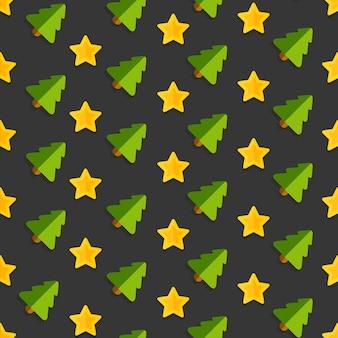 クリスマスツリーと金色の星のシームレスパターン